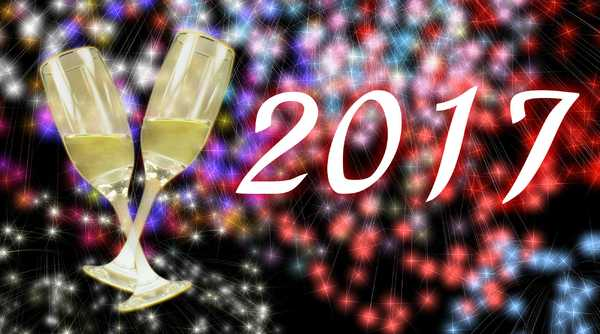 2017 New Year Banner: Welcome 2017 with a sparkly explosive and eye-catching colourful graphic. You may prefer: http://www.rgbstock.com/photo/otSVyaa/New+Year+Greetings or http://www.rgbstock.com/photo/oZ5GWWi/New+Year+Greetings+2