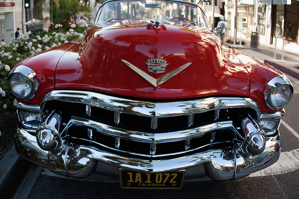 Classic 1950's Red Cadillac: Classic 1950's Red Cadillac , front grill