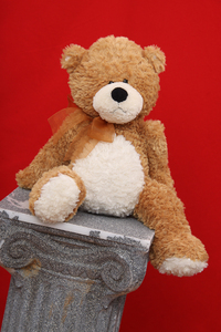 slipping teddy bear: a brown teddy bear against a red background slipping off a column