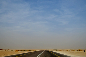 Driving on a desert road