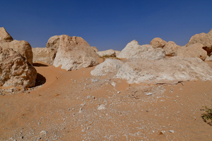 Rocky area in the desert sand