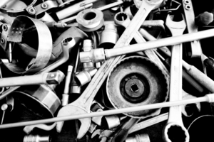 b&w image with car tools