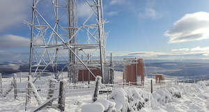 Wintry transmitter mast