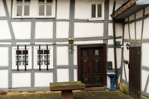 grey half-timbered house