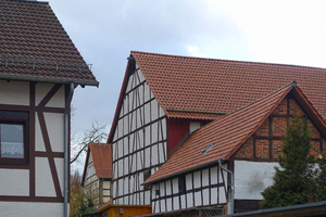 half timbered houses scene