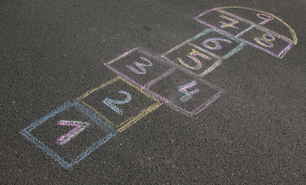Hopscotch 3: An ancient outdoor game, which is played on the streets and in the schoolyards all over the world. It has a lot of different names, but the rules are quite similar in all coutries.