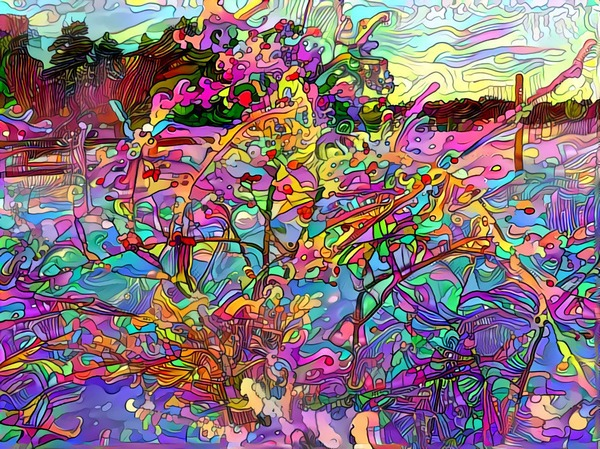 Colourful winterday: Rose-hip bush on a winterday walk. Image rendered through