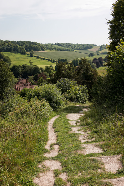 Steep footpath: A hillside footpath at West Wycombe, Buckinghamshire, England.