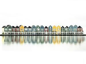 Dutch houses: Dutch houses. We all live like this in Holland. And we wear wooden shoos too.