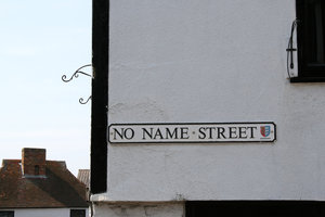 Nameless: A genuine street name sign in a town in Kent, England.