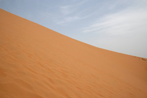 Giant dune: Edge of a huge sand dune (c. 200m high) in the Tengger desert, China.