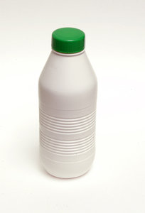 A (pvc) bottle of milk.