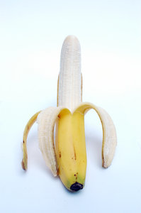 A peeled banana.: A peeled tasteful banana ...