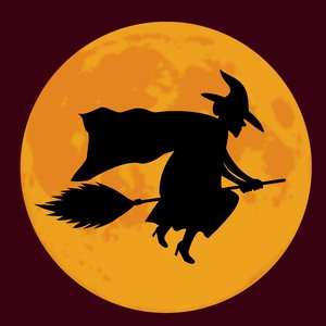 Witch Moon Maroon: Witch on broom silhouetted against a full moon.