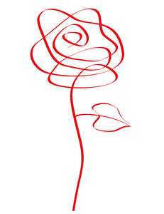 Doodle Rose: Abstract doodle rose on white background.