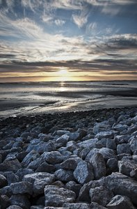 Bay Sunset: a very subtle hdr image looking across morecambe bay as the sun sets