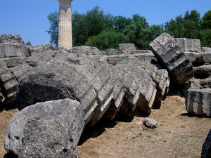 Temple of Zeus 1: The remains of the coloms of the temple of Zeus in Ancient Olympia, Greece.