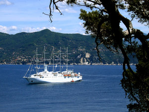 Portofino: 5 masted sailing cruise ship for the coast of Portofino, Italy.
