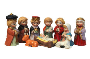 Christmas scene: All the Christmas figures together.