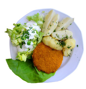 Cordon Bleu: A Cordon Bleu with potatos and salad.Please mail me or comment this photo if you found it useful. Thanks!I would be happy to receive the information about picture usage. I would be extremely happy to see the final work even if you think it is nothing spec