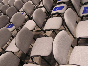 Chairs: Empty chairs at the conference.Please e-mail me where did you use my photos!I would be happy to receive the information about picture usage. I would be extremely happy to see the final work even if you think it is nothing special! For me it is!