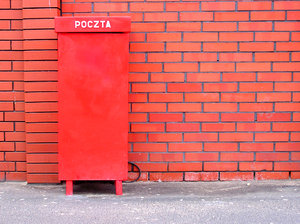 Post box: A postal box near the red brick wall.Please mail me if you found it useful. Just to let me know!I would be extremely happy to see the final work even if you think it is nothing special! For me it is (and for my portfolio)!