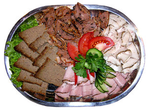 Meat plate: A plate with cold meats.Please comment this shot or mail me if you found it useful. Just to let me know!I would be extremely happy to see the final work even if you think it is nothing special! For me it is (and for my portfolio).