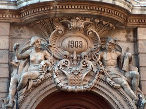 Architectural details 10: Detail of the front door of Casino Español, Mexico City. It states the year of inaguration.