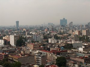 Mexico City skyline 4: Mexico City skyline. The sight is to the south, and the left tall building is Torre de MEXICANA and to the right side is the WTC Mexico.