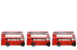 Three Red Buses: Three red London buses against a white background