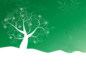 Green Snowflake Tree: Abstract siwirly snowflake tree and snow against an abstract snowflake gradient background.