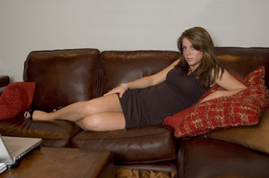 Leather couch 10: Amy on a leather couch