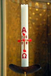 Paschal candle in the catholic: Big liturgical candle
