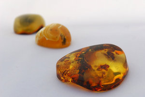 Amber stones in perspective