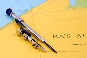 Navigation map and compasses 1: Compasses on the sea map