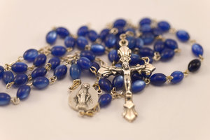 Blue rosary 1: Catholic blue beads