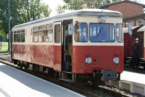 German diesel locomotive: Cab car on Gernrode station, Germany