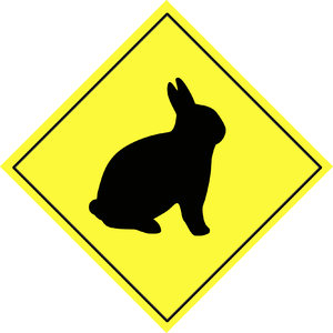 Animal warning sign 4: Rabbit shape