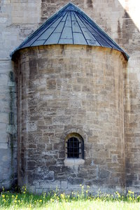 Romanesque apse of church in G: In Romanesque, Byzantine and Gothic Christian abbey, cathedral and church architecture, the term is applied to the semi-circular or polygonal section of the sanctuary at the liturgical east end beyond the altar