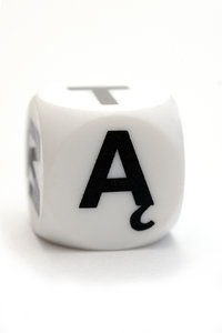 Dice with polish letter A: Character on the cube