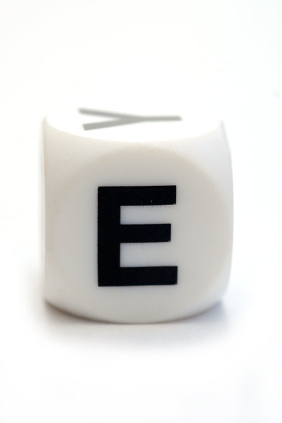 Character E on the cube