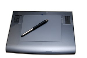 Graphics tablet  2: Digitizing tablet is a computer input device that allows one to hand-draw images and graphics, similar to the way one draws images with a pencil and paper.