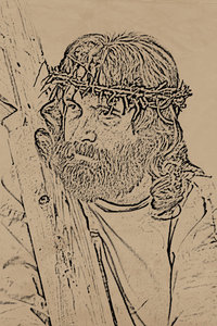 Jesus -graphic on old paper: Brown paper with religion image