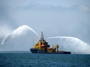 Rescue ship at sea parade 2: Water splashes from rescue ship