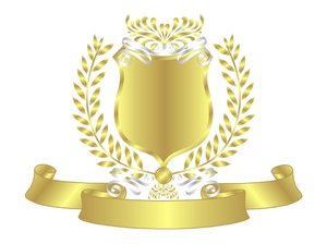 Gold Shield White Ribbon