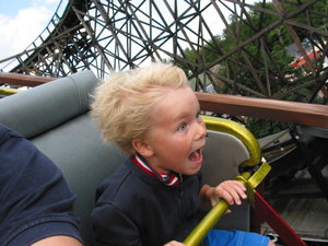 scary ride: On the old rollercoaster in the amusement park Bakken in Denmark.