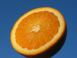 Orange and Blue 3: Natural high contrast - crisp and fresh orange with blue sky background. Put the orange on a metal stick and held it up against the evening sky slightly tilted towards the sunlight.