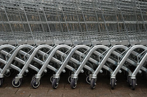 Trolleys: Shopping trolleys.