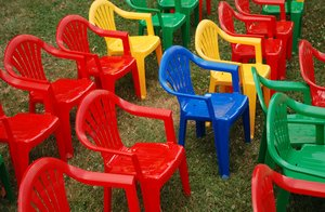 Blue Seat: Tiny plastic chairs for kids.