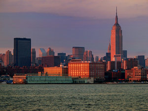 Manhattan at Dusk: Manhattan skyline at dusk as seen from Hoboken, NJ